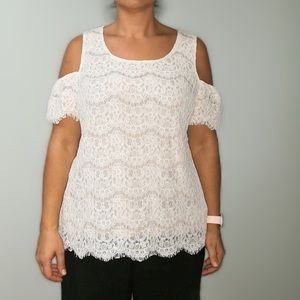 Rose & Olive off white lace top